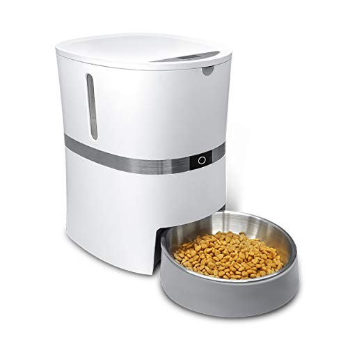 honeyguaridan A36 Automatischer Futterautomat für Hunde und Katzen mit Edelstahl Futterschüssel, Portionskontrolle und Sprachaufzeichnung, Kapazität 13 Tassen, 2.47 kg