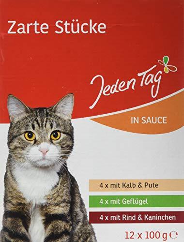Jeden Tag Katzenfutter Multipack Sauce, Fleisch, 12 x 100 gr, 4er Pack (4 x 1.200 g)