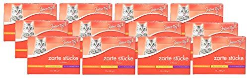 Jeden Tag Zarte Stücke in Gelee Multipack, Katzenfutter mit Pute & Lamm, Huhn & Ente, Truthahn & Rind (12 x 100 g), 4er Pack (4 x 1.200 g)