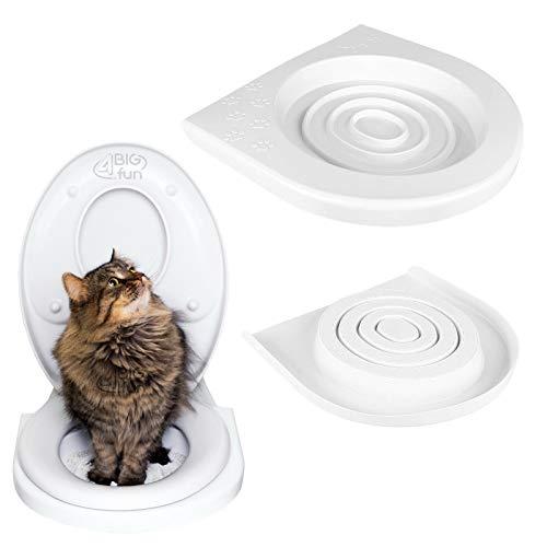 4BIG.fun Katzen WC-Sitz Toiletten Training System Katzentoilette Katzenklo Toilettensitz Trainingssystem zum eingewöhnen Ihrer Katze an das WC