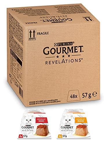 PURINA GOURMET Revelations Mousse, Katzenfutter nass in Sauce, mit Huhn, 48er Pack (48 x 57g)