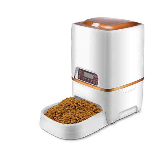 Sailnovo Futterautomat, Automatischer Futterspender für Katze und Hund, Pet Feeder mit Timer, LCD Bildschirm und Ton-Aufnahmefunktion, 4 Liter (6L Automatischer Futterspender)