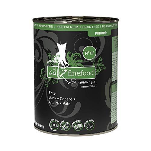 catz finefood Purrrr Ente Monoprotein Katzenfutter nass N° 115, für ernährungssensible Katzen, 70% Fleischanteil, 6 x 400g Dose