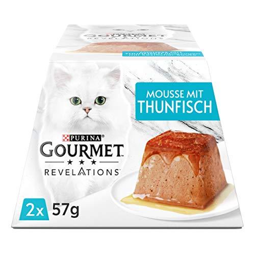 PURINA GOURMET Revelations Mousse, Katzenfutter nass in Sauce, mit Thunfisch, 12er Pack (12 x 2 Portionen à 57g)