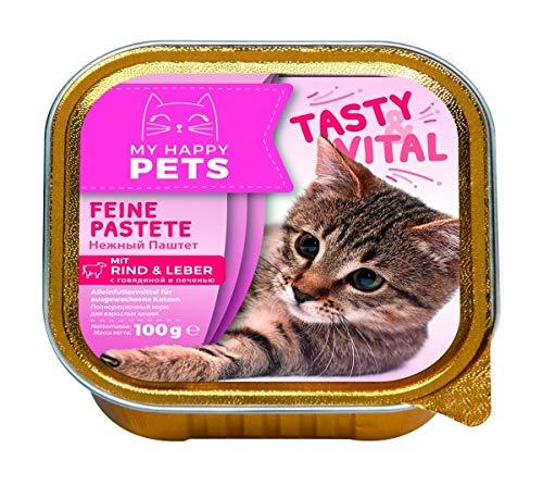 My Happy Pets Katzenfutter feine Pastete mit Rind & Leber 64 x 100g