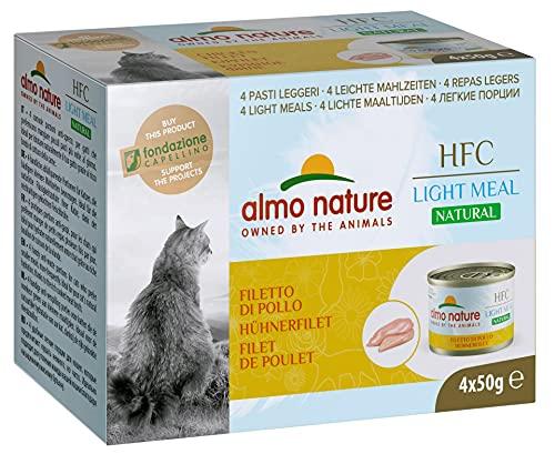 almo nature HFC Natural Light Meal Katzenfutter für ausgewachsene Katzen- Hühnerfilet 50 g x 4 stück, 200 g