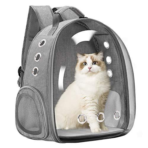 Vailge Haustier Hunde Katzen Rucksack Raumkapsel, Tragbar Transportrucksack Transporttasche für Haustiere Reisen Atmungsaktive Kapsel Rucksack für Katzen Kleine Hunde(Grau)