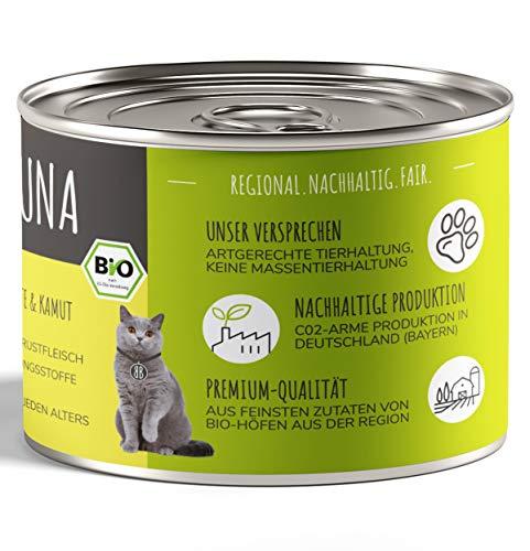 Baluna Bio Katzenfutter | Von Bio-Höfen aus der Region | Hergestellt in DEU | Hoher Fleischanteil (Huhn, 6x200g)