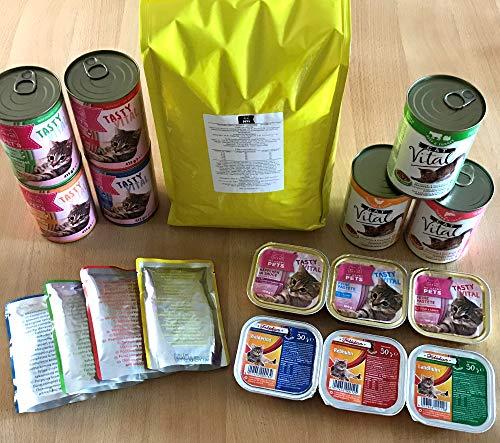 Musterpaket Testpaket Katzenfutter nass & trocken Verschiedene Sorten 11,5kg