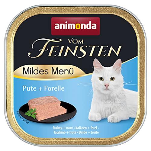 animonda Vom Feinsten Adult Katzenfutter, Nassfutter für ausgewachsene Katzen, mildes Menü, Pute + Forelle, 100 g