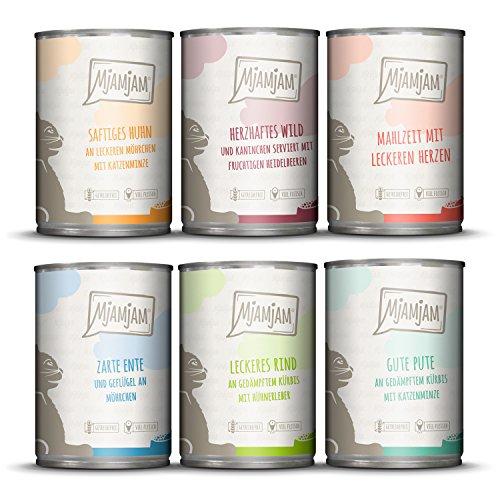 MjAMjAM - Premium Nassfutter für Katzen - Mixpaket 3 - Wild & Kaninchen, Pute, Ente & Geflügel, Herzen, Huhn, Rind, 6er Pack (6 x 400 g), Getreidefrei Mit Extra Viel Fleisch