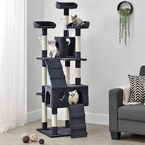 Sam´s Pet Katzen-Kratzbaum Amy grau   Katzenbaum inkl. Höhlen, Liegeflächen, Treppen & Sisal Stämme   170 cm hoch   Katzenkratzbaum