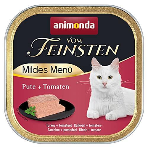 animonda Vom Feinsten Adult Katzenfutter, Nassfutter für ausgewachsene Katzen, mildes Menü, Pute + Tomaten, 100 g